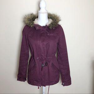 Burgundy Hooded Parka Jacket
